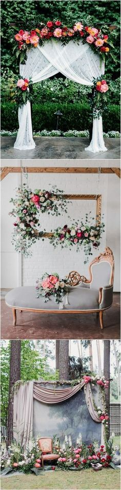chic vintage wedding backdrop ideas with floral - Hochzeit Dekoration Trendy Wedding, Diy Wedding, Wedding Ceremony, Rustic Wedding, Wedding Flowers, Dream Wedding, Wedding Day, Wedding Shot, Outdoor Ceremony