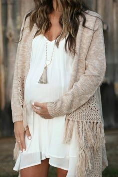 Maternity style, bump style, Giving a fresh look to these riding boots by styling them with a dress and fringed cardigan! Cute Maternity Outfits, Fall Maternity, Stylish Maternity, Maternity Fashion, Maternity Dresses, Pregnancy Fashion, Pregnant Outfits, Pregnant Clothes, Pregnant Tips
