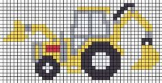 ~ bulldozer x-stitch Cross Stitch Patterns Free Easy, Cross Stitch For Kids, Mini Cross Stitch, Cross Stitch Charts, Cross Stitch Designs, Cross Stitch Embroidery, Knitting Charts, Knitting Stitches, Knitting Patterns