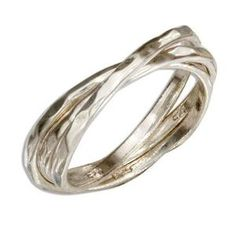 Sterling Silver Hammered Triple Intertwined Band Ring