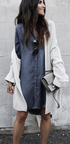 #summer #outfits White Cardigan + Denim Shirt Dress // Shop this exact outfit in the link