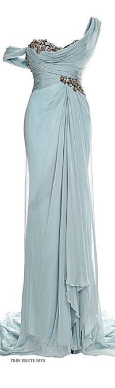 Marchesa One Shouldered Chiffon Gown with Embroidered Bodice and Drape Detail  Resort 2015