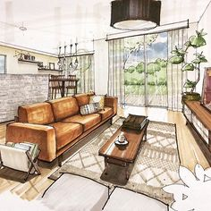 Lovely use of warm colours for this living room illustration by Japanese artist @tmk.arch  #ArchiSketcher Interior Rendering, Interior Architecture Drawing, Interior Design Renderings, Interior Sketch, Interior Design Drawing, Rendering Drawing, Technical Drawing, Drawing Furniture, Perspective Sketch