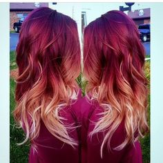 Red to blonde ombre, red ombre hair color, burgendy ombre hair, f Red Blonde Ombre Hair, Ombre Hair Color, Hair Colors, Colours, Blonde Balayage, Red Hair Fade, Bayalage Red, Maroon Hair, Brunette Ombre