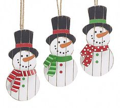 Wooden Snowman Christmas Ornament Set of 3 1649186 Christmas Sled, Snowman Christmas Ornaments, Christmas Store, Christmas Crafts, Ornament Tree, Christmas Things, White Christmas, Christmas Holidays, Unique Christmas Decorations