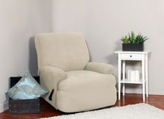 Montgomery II Bone Recliner Slipcover. Deeply embossed box pattern with a soft luscious surface, form fit slip cover upholstery, living room, beautiful interior design, chic home decor