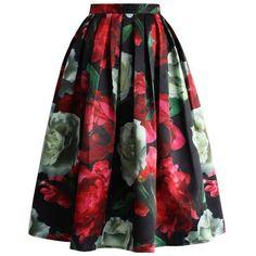 Peonies Bloom in Dark Pleated Midi Skirt ❤ liked on Polyvore featuring skirts, knee length pleated skirt, floral midi skirt, floral print midi skirt, floral knee length skirt and floral printed skirt