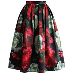 Peonies Bloom in Dark Pleated Midi Skirt ❤ liked on Polyvore featuring skirts, mid calf skirts, floral printed skirt, floral skirt, flower print skirt and knee length pleated skirt
