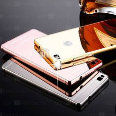 New Plating Mirror Back with Metal Frame Phone Case for Huawei P8/P8 Lite(Assorted Colors) 2016 – $3.99
