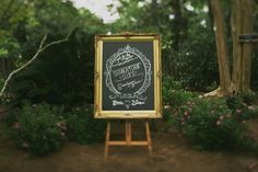 Chalkboard Cocktail Menu in Gilded Frame | Jonas Seaman Photography | www.theknot.com