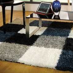 Nordic Andes Shaggy Rugs in Blue Grey