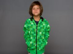 J!NX : Minecraft Creeper Premium Zip-up Youth Hoodie - Clothing Inspired by Video Games & Geek Culture