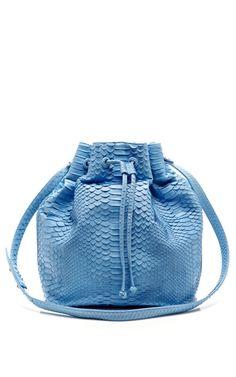 Sky Blue Blue Python Large Drawstring Bag by Hunting Season for Preorder on Moda Operandi