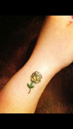 Yellow rose tattoo for my Granny ♡
