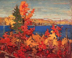 Quality print by Group Of Seven artist Tom Thomson - Autumn Foliage; Available framed, giclee canvas. Canada Landscape, Landscape Art, Landscape Paintings, Landscapes, Tree Paintings, Acrylic Paintings, Group Of Seven Art, Group Of Seven Paintings, Emily Carr