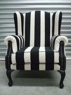 WING CHAIR - NEW - BLACK STRIPE in Home & Garden, Furniture, Sofas, Couches | eBay