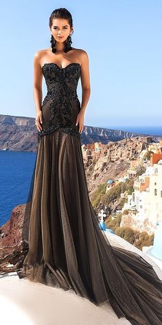 24 Beautiful Black Wedding Dresses That Will Strike Your Fancy ❤ black wedding dresses trumpel sweetheart gothic crystal design ❤ Full gallery: https://weddingdressesguide.com/black-wedding-dresses/