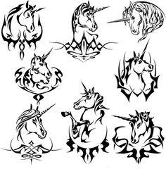 Tribal Unicorn Tattoo Set