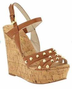 aa202a24844 MICHAEL KORS STUDDED Jolie SANDALS Luggage CORK WEDGE PLATFORM 8  165 Very  High Heels