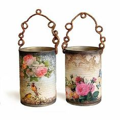 decoupage napkins onto the glass holders. The thinness of the napkins will make them transluscent Tin Can Crafts, Crafts To Make, Fun Crafts, Soup Can Crafts, Decor Crafts, Coffee Can Crafts, Tin Can Art, Decoration Shabby, Hanging Decorations