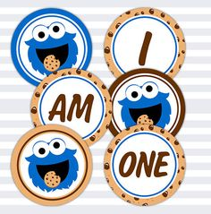 INSTANT DOWNLOAD- Cookie Monster, Sesame Street, Inspired, I Am One Banner, Digital, DIY, Printable, Birthday Banner, First Birthday by ChaliceTee on Etsy https://www.etsy.com/listing/219852451/instant-download-cookie-monster-sesame
