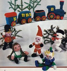 Crochet Toy Train and Christmas Dolls Vintage Crocheting PDF PATTERN - Set of 6 padurns