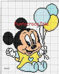 Discover thousands of images about Minecraft Pixel Art Ideas Templates Creations Easy / Anime / Pokemon / Game / Gird Maker - Cross Stitch Baby, Cross Stitch Embroidery, Embroidery Patterns, Disney Stich, Pixel Art Grid, Minecraft Pixel Art, Minecraft Templates, Disney Cross Stitch Patterns, Baby Mickey Mouse