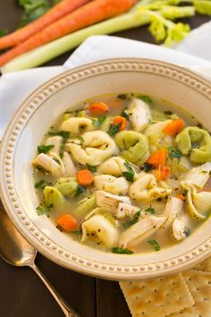 Tortellini Chicken Noodle Soup...this a great idea nd looks so warm and tasty.  Wanted to make Chicken Noodle soup the other day...but had no noodles...I did have Tortellini in the freezer. If only I had thought of using this.