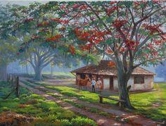 Paisagem com fazenda - Pintura: Wilson Vicente # Minas Gerais – Brasil   Brazil