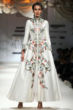 Samant Chauhan presents Ivory embroidered front open gown available only at Pernia's Pop Up Shop.
