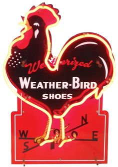 Weather-Bird Shoes neon sign, diecut porcelain, Exc working cond, x Bird Shoes, Farmer's Daughter, Vintage Signs, Farmers, Old Photos, Porcelain, Weather, Neon Signs, Birds