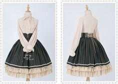 Jewelry in Sunrise -LA Principessa Turandot- Vintage Embroidery Striped Lolita Skirt