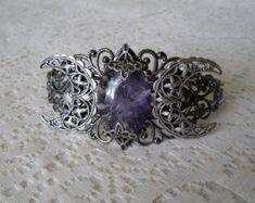 Amethyst Triple Moon Goddess Cuff Bracelet, wiccan jewelry pagan jewelry wicca jewelry witch celtic druid new age witchcraft mystic magic