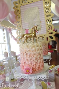 Ombre rose cake at a magical unicorn birthday party! See more party ideas at CatchMyParty.com!