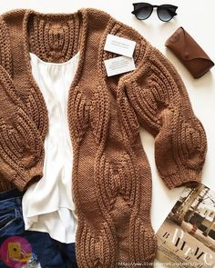 """Cardigan """"Circles on the water"""" - DIY, ideas for . Knitting Stitches, Knitting Designs, Knitting Patterns Free, Baby Knitting, Free Pattern, Cardigan Fashion, Knit Fashion, Mode Crochet, Knit Crochet"""