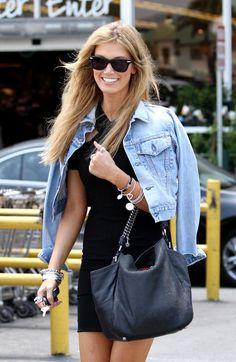 jean jacket + black dress.