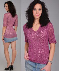 Jersey calado con escote en V Talla: 44. http://tejidogratis.com/40-tejido-para-mujeres-agujas/jersey/711-jersey-calado-con-escote-en-v.html