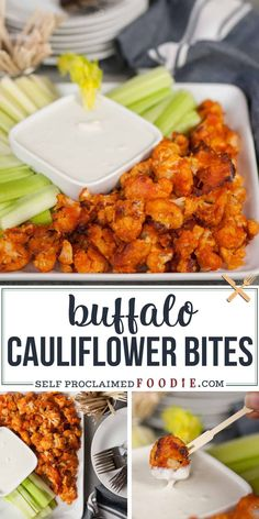 These Buffalo Cauliflower Bites taste so much like traditional chicken wings but are a healthy vegetarian version perfect for a light snack. Baked Buffalo Cauliflower, Cauliflower Recipes, Vegan Cauliflower Wings, Easy Healthy Recipes, Vegetarian Recipes, Healthy Snacks Vegetarian, Easy Healthy Appetizers, Vegetarian Appetizers, Appetizer Recipes