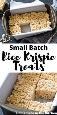 Whether you have leftover cereal or are tired of the heat these no bake Small Batch Rice Krispie Treats made in a loaf pan are the ideal ooey gooey dessert homemadeinthekitchen ricekrispietreats smallbatchdesserts Rice Krispy Treats Recipe, Rice Crispy Treats, Krispie Treats, Cooking For One, Batch Cooking, Cooking Recipes, Rice Recipes For Dinner, Dessert Recipes, Popcorn Recipes
