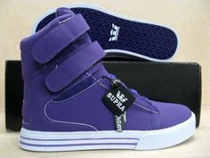 Women's Purple Supra shoes with wedge