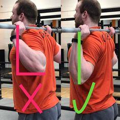 Links ist der Ellenbogen nach hinten gestreckt, das Handgelenk abgeknickt. Die Belastung auf das Handgelenk ist groß, dies kann Problemen verursachen. Es fällt schwer den Oberkörper aufrecht zu halten, oft rundet der Rücken ein und der Brustkorb sinkt nach vorne ab.  Rechts Bild sind die Ellenbogen unter der Stange, die Handgelenke knicken nicht ab und es fällt leichter, eine aufrechte Position einzunehmen und diese während der Bewegung zu halten. Der Rücken ist gerade und der Brustkorb…