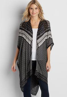mixed pattern ruana wrap