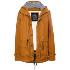 Pull & Bear Hooded Parka ($90) ❤ liked on Polyvore featuring mens, men's clothing, men's outerwear, men's jackets, jackets, outerwear, coats, coats & jackets and ochre