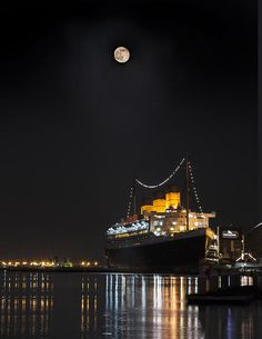 Denise Dube does it again with the awesome night exposure! Honey Moon Reflects With The Queen By Denise Dube  Night Time Photography, Moon Photography, Photography For Sale, Landscape Photography, Photography Ideas, Long Beach California, Artist Work, Beach Wall Decor, Art Prints For Sale