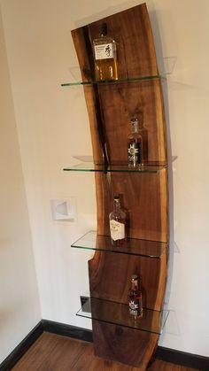 Whiskey shelf is finally done! Black walnut and glass. Live Edge Furniture, Walnut Furniture, Rustic Furniture, Diy Furniture, Wood Projects That Sell, Small Wood Projects, Game Room Kids, Walnut Shelves, Boffi
