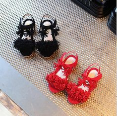 4ba3de97ff5a 2017 New style fashion baby shoes kids Girl Sandals Princess pink red Flower  Girl Summer Nubuck Dancing shoes-in Sandals from Mother   Kids on ...