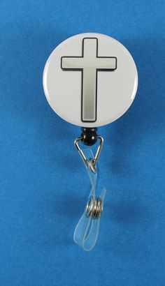Silver Cross Button Retractable Badge Reel, ID Badge Holder