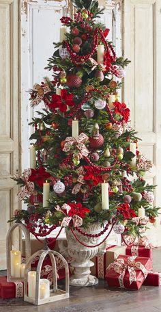 Christmas Decorating Themes For Work Skinny Christmas Tree, Beautiful Christmas Trees, Very Merry Christmas, Christmas Holidays, Gold Christmas Decorations, Christmas Tree Themes, Xmas Tree, Christmas Crafts, Gingerbread Christmas Tree