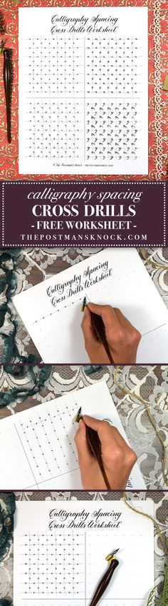Free Calligraphy Spacing Cross Drills Worksheet – The Postman's Knock Copperplate Calligraphy, Calligraphy Handwriting, Script Lettering, Lettering Styles, Calligraphy Letters, Penmanship, Typography Letters, Brush Lettering, Modern Calligraphy
