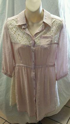 BLVD Womens Size S Tunic Shirt Dress  Pale Pink Lace Inserts #BLVD #ButtonDownShirt